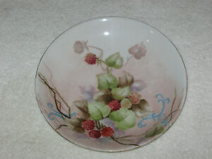 Antique/Vintage Hand Painted China Plate - Limoge France - Haviland - Berries #1
