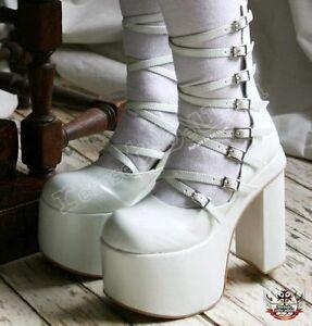 Cyber-Gothic-White-Bridal-Lolita-8-Strap-Buckle-6-034-Boot