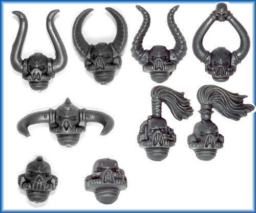 Chaos Space Marine Troop HEADS x 9