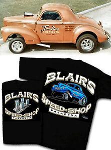 Blair-039-s-Speed-Shop-T-Shirt-1940-1941-Willys-Gasser-Vintage-Hot-Rod