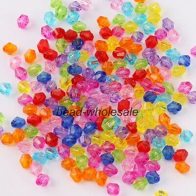 500pcs Hot Fashion Candy Color Acrylic Bicone Shaped Faced Spacer Beads