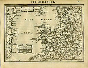 1651 Genuine Antique map of  Wales, Anglesey, Isle of Man.  Mercator Jansson