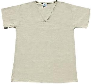 men-039-s-HEMP-V-Neck-T-Shirt-natural-white-short-sleeve-organic-S-M-L-XL-XXL