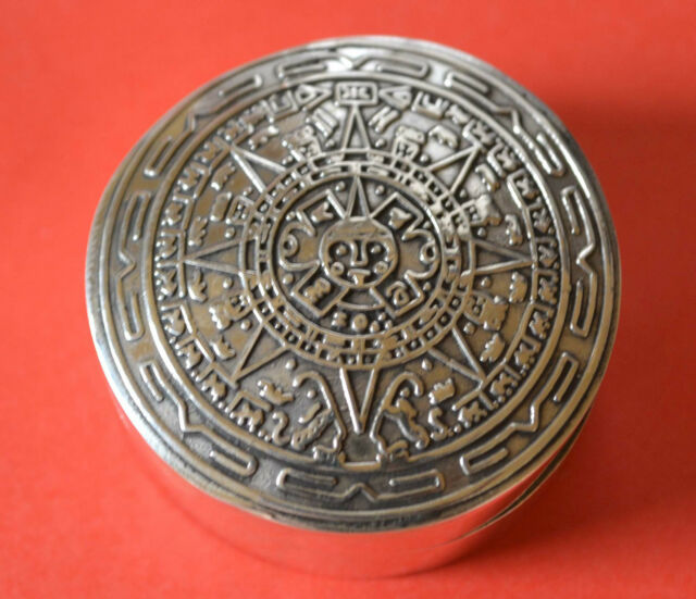 Sterling Silver Pill Box With The Aztec Calendar  24 grams Weight .925 NEW