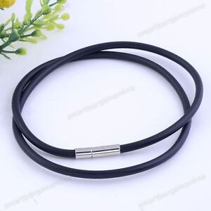 5x-3mm-Black-Rubber-String-Cord-Long-Necklace-Chain-Clasp-For-Jewelry-Making-New