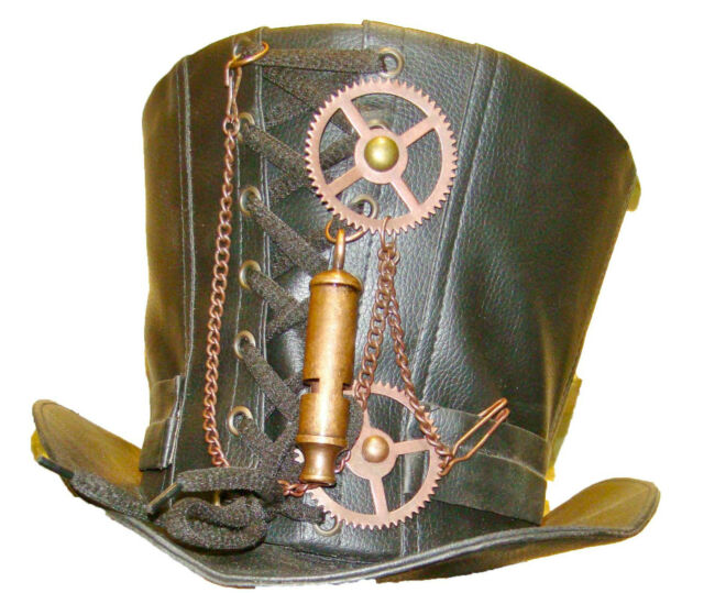 Steampunk madhatter Hand made  Leather Look Top Hat with antique style whistle