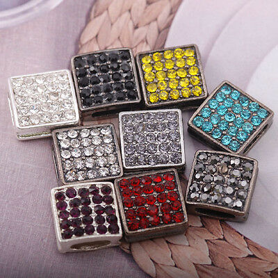 4pcs Rhinestones Pave square bead spacer Connector jewelry findings accessory