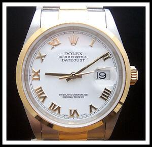 ROLEX-Stainless-Steel-18K-Gold-DATEJUST-WATCH-White-Dial-ROMAN-NUMERALS-16203