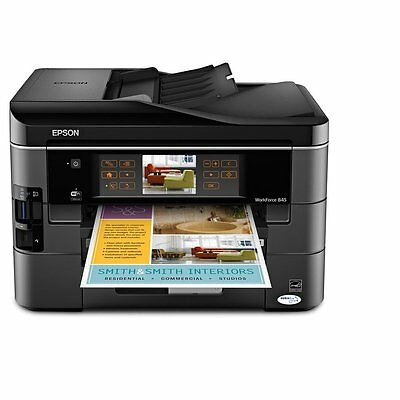 New Epson WorkForce 845 Wireless Color All-in-One Printer 2 trays 2-sided print