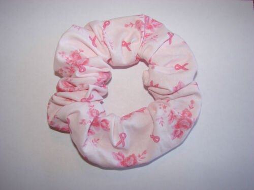 Breast Cancer Awareness pink ribbon floral fabric hair scrunchies survivor hope