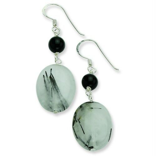 77e11207f Ladies Silver Plated Genuine Tourmaline Quartz w/ Black Crystal Earrings