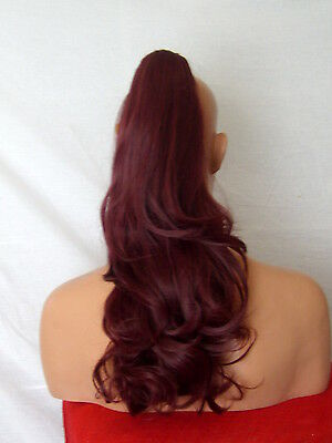 "Clip in Hair Pony Tail Hair Extension Soft Wavy Plum Red #99J 20"" MIA"