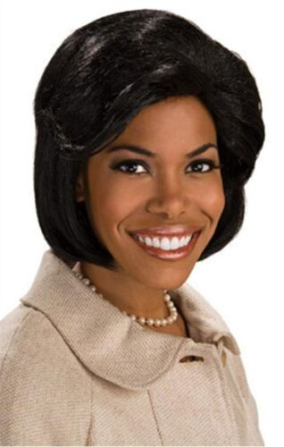 First Lady Wig Michele Obama Black Dress Up Halloween Adult Costume Accessory