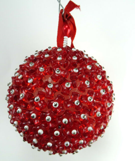 Vintage Red Beaded Christmas Round Ball Ornament 1960's Era Red White Beads