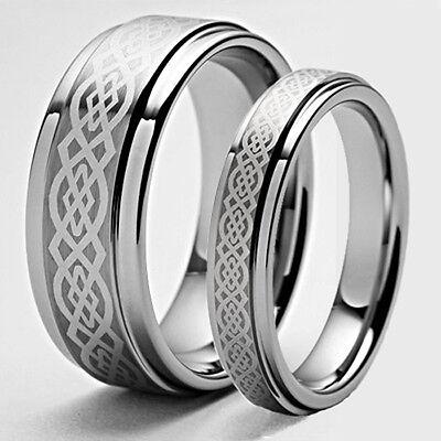 Size 3-18 Custom His & Her Celtic Titanium Anniversary Rings Set Wedding Bands
