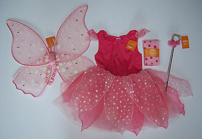 NWT Gymboree Sz 10-12 :Pink Glitter Fairy Costume Wings Polka Dot Tights & Wand