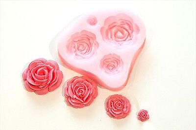 4 Size Roses Flower Silicone Mould Sugarcraft, Cake Decorating , Fondant,Fimo UK