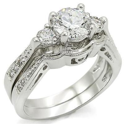 2 CARAT ROUND CZ WEDDING ENGAGEMENT RING SET SIZE 5 6 7 8 9 10