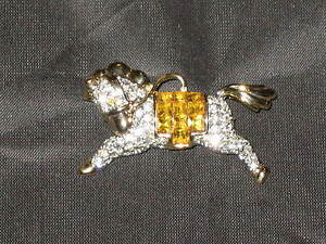Horse-Running-Rhinestone-Saddle-Jewelry-Pin-Brooch-Pendant-Goldtone-NEW