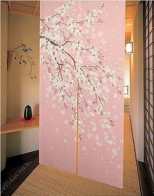 Romantic Oriental Cherry Japanese Noren Doorway Curtain JOY-5901