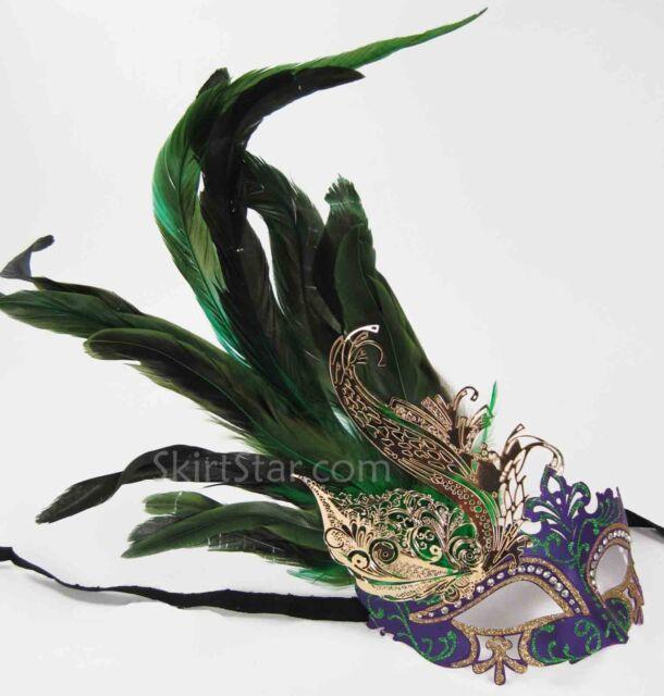LASER CUT metal VENETIAN MASK masquerade rhinestone gold mardi gras feathers NEW