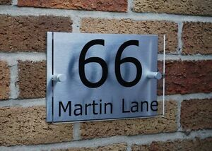 House-Number-Sign-Plaque-Brushed-Aluminium-amp-Acrylic