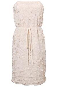 New-French-Connection-Crepe-Petal-Polka-Strapless-Dress-White-Black