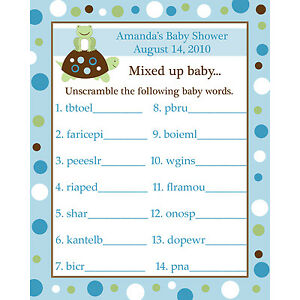 Image Is Loading 24 Baby Shower Word Scramble Game Cards TURTLE