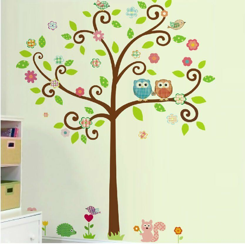 scroll tree wall decal art vinyl nursery stickers christmas owls family scroll tree decal removable wall