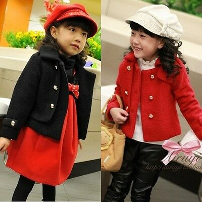 Toddlers Girls Full Fleece Lined Double Breasted Jacket Coat Warm 3-7 Y S077