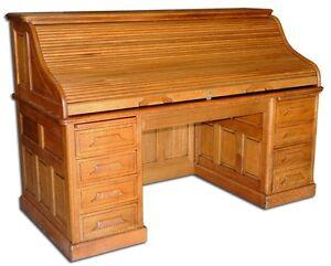 Fantastic Antique 19th C American Oak Rolltop Desk 1638