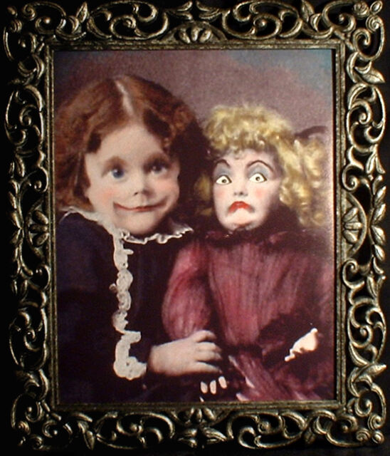 "HAUNTED Antique Photo ""EYES FOLLOW YOU"" Creepy Girl Doll Portrait prop Halloween"