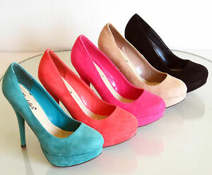 New-Stilettos-Platform-High-Heel-Pumps-Suede-Pink-Black-5-6-6-5-7-7-5-8-8-5-9-10