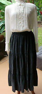 "SA Rose Charcoal Gray Tiered Historical Costume Look Skirt w/adj waist 26""-44"""