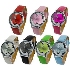 Special-Style-Double-Dial-Plate-Quartz-Ladies-Womens-Leatheroid-Band-Wrist-Watch