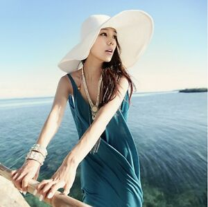 Fashion-Chic-Womens-Ladies-Wide-Large-Brim-Summer-Beach-Sun-Hat-Straw-Derby-Cap