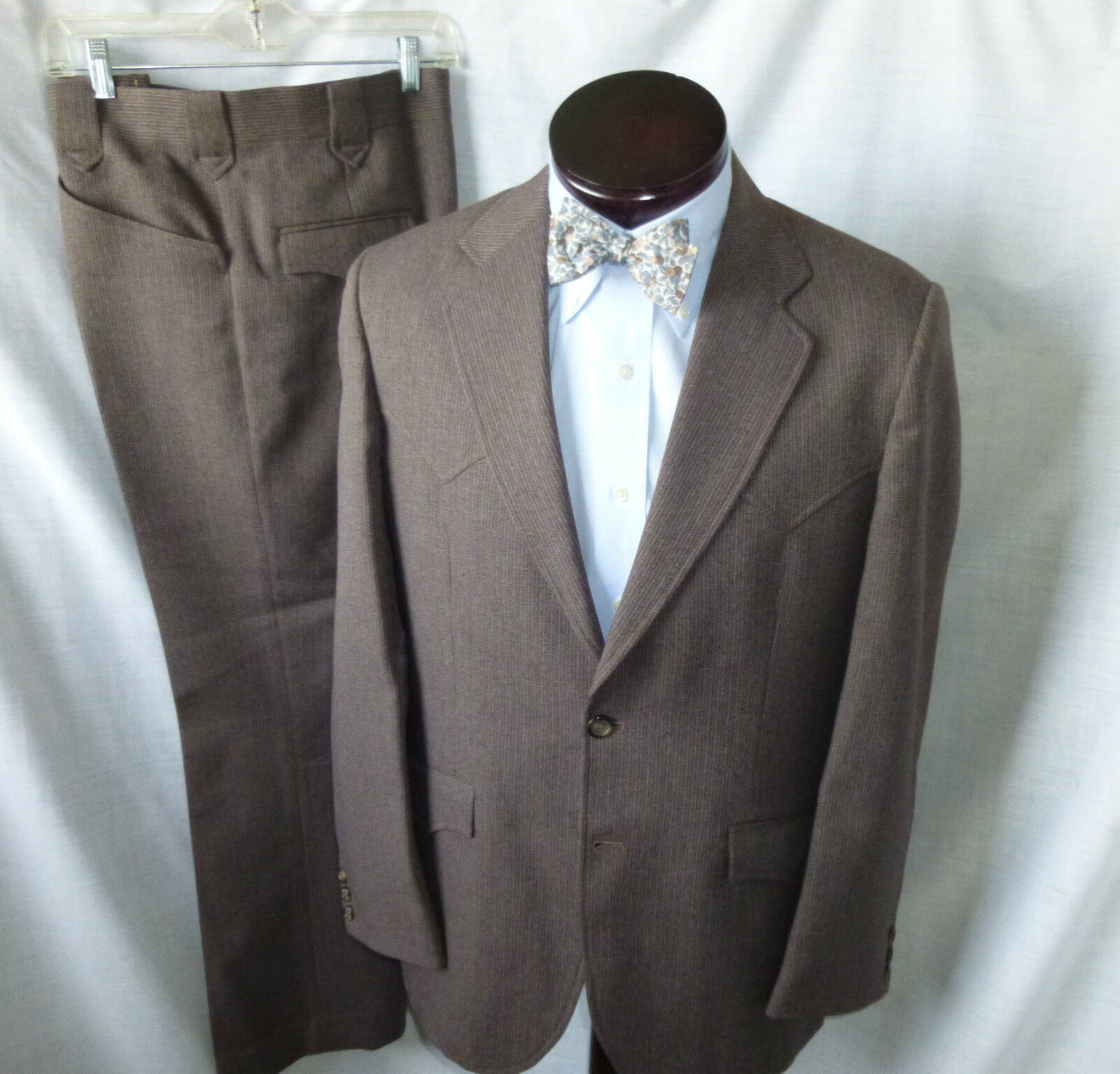 CIRCLE S,Brown Pinstripe,Western-style,2 Pce Suit,40R