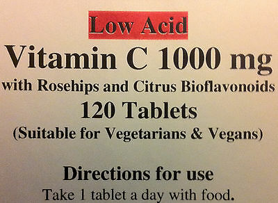 Vitamin C (Low Acid)1000mg  with Rosehips & Citrus Bioflavonoids 120 Vegan tabs