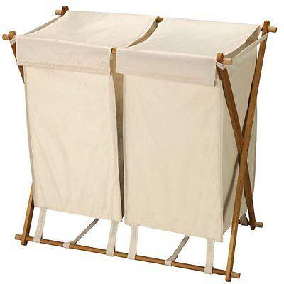 NEW Folding Double Bag Laundry Clothes Hamper Polyester Blend Foldable Sorter