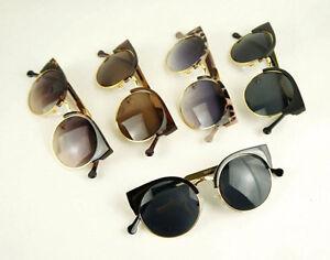 New-Women-039-s-Chic-Retro-Style-Half-Metal-Plastic-Frame-Round-Teashades-Sunglasses