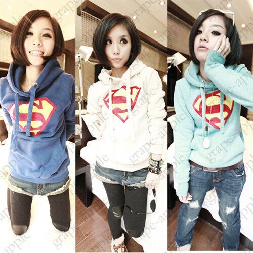 KDCW Womens Cute Superman Logo Hoodie Casual Pullover Tops Outwear YWF-0140