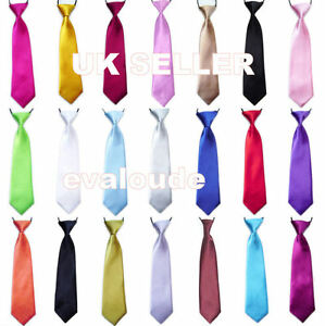 New-High-Quality-Boys-Girls-Childs-School-Italian-Satin-Elastic-Neck-Tie-Ties