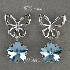DROP-EARRINGS-STUD-9K-GF-9CT-WHITE-GOLD-BLUE-CRYSTAL-BUTTERFLY-BOW
