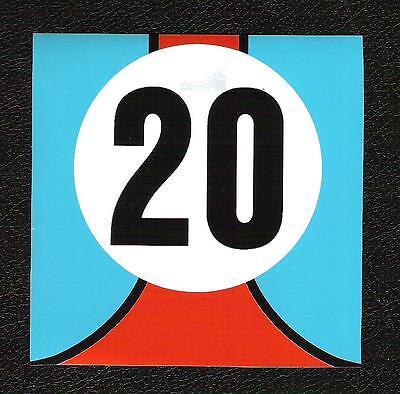 Gulf Le Mans Twenty 20 Sticker, Steve McQueen, Vintage Sports Car Racing Decal