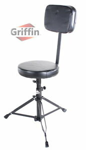 Drum-Throne-with-Back-Rest-Support-Music-Stool-Chair-Seat-Piano-Keyboard-Griffin
