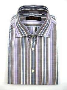 New-ETRO-Milano-Italy-Purple-Brown-Blue-Striped-Dress-Shirt-39-M-15-5-MSRP-395