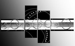 LARGE-BLACK-WHITE-GREY-ABSTRACT-CANVAS-ARTWORK-PICTURE-SPLIT-MULTI-4-PANEL-57