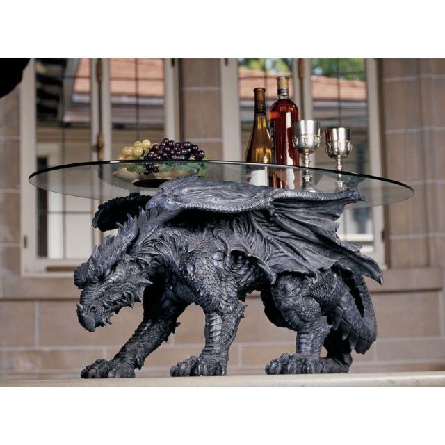 Black Drakon Glass Top Cocktail Table. Home Decor Dragon Statue Sculptured Art.