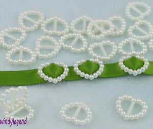 200-Ivory-Cream-Pearl-Heart-Buckle-Invitation-Ribbon-Slider-For-Wedding-Supplies