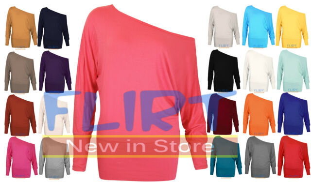 Womens Batwing One Off Shoulder Top Ladies Baggy Long Sleeve T-Shirt Casual Tops